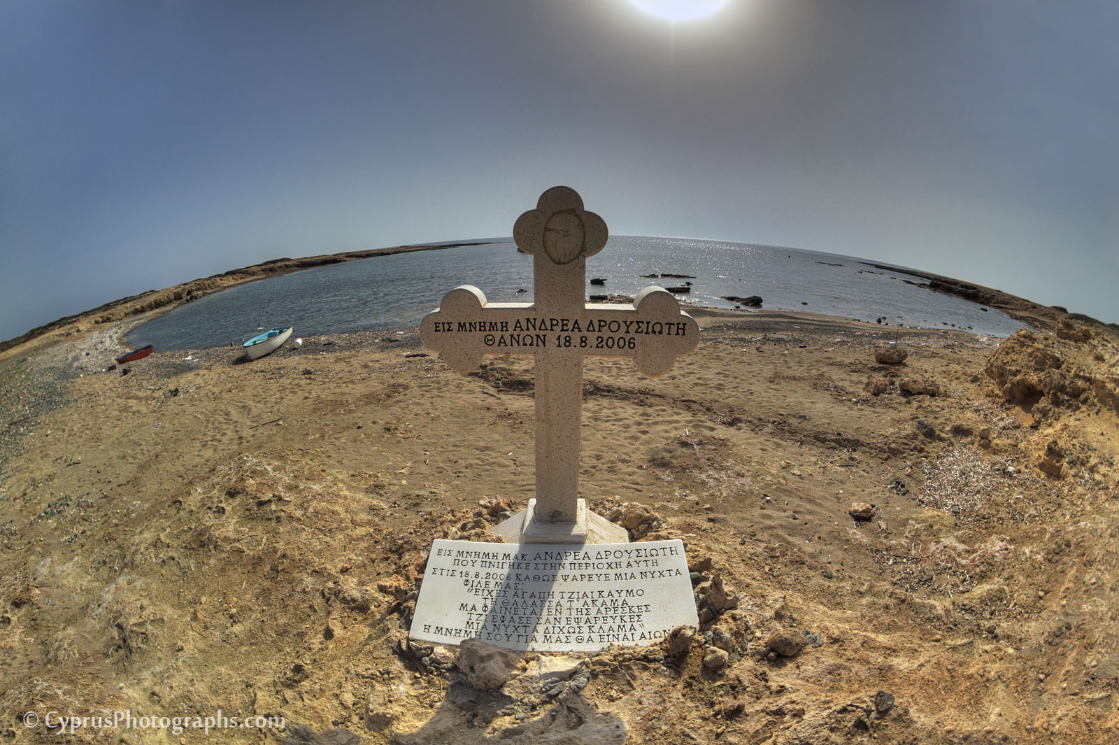 Memorial cross at the coast of Akamas in memory of the drowned fisherman